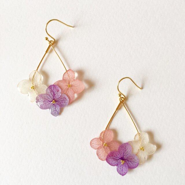 紫陽花の雫フープピアスs*ピンクアメジスト*の画像1枚目