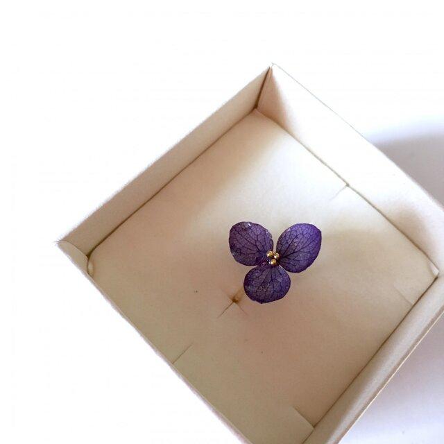 ラピスラズリ*紫陽花のスパイラルピンキーリングの画像1枚目