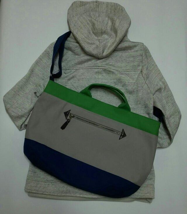 3wayショルダーバッグ(倉敷帆布 紺×グレー×グリーン)の画像1枚目