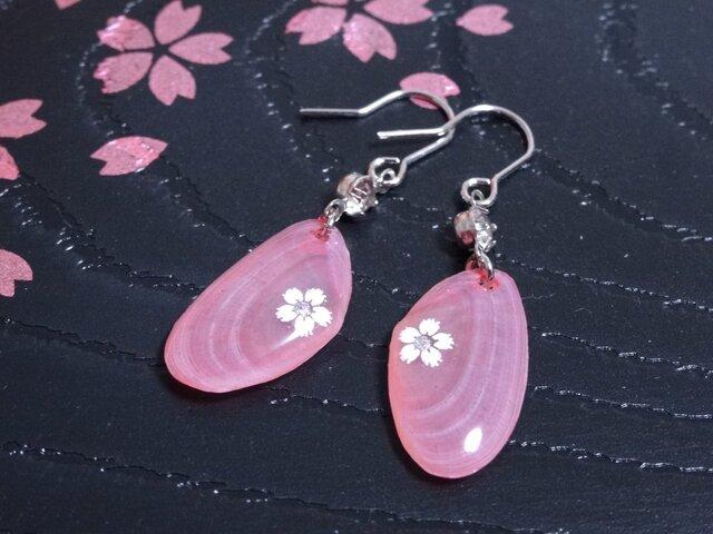 【再販】桜貝のピアス・濃いピンク(花)の画像1枚目