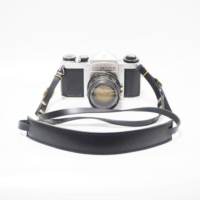 一眼レフ・ミラーレス用の本革カメラストラップ ブラック 【受注生産】の画像1枚目