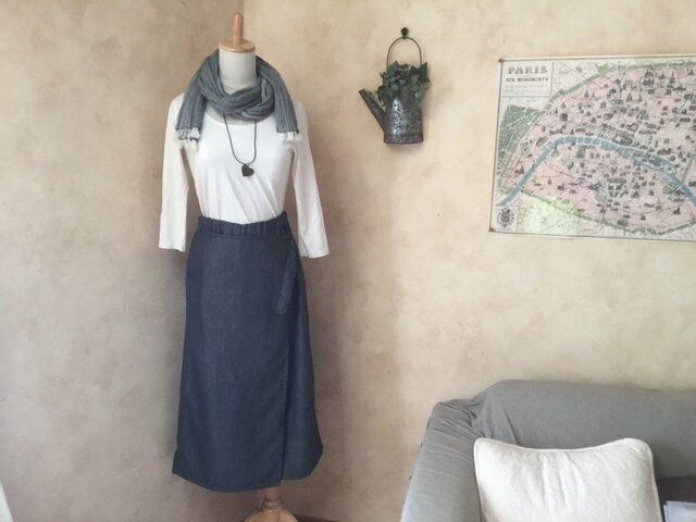 コットンリネンのラップスカート風パンツの画像1枚目