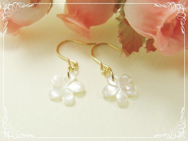 *感謝価格**K14GF***P73*高品質シェル(白色)☆桜のピアスの画像1枚目