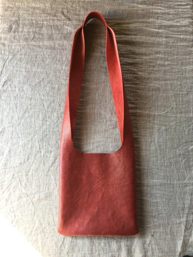 『環桜』 革袋 枯赤 斜め掛けの画像1枚目