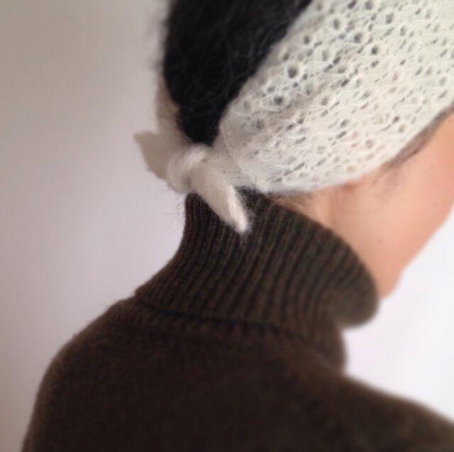 ふんわりアルパカウールのヘアバンド&スカーフ[2way]の画像1枚目