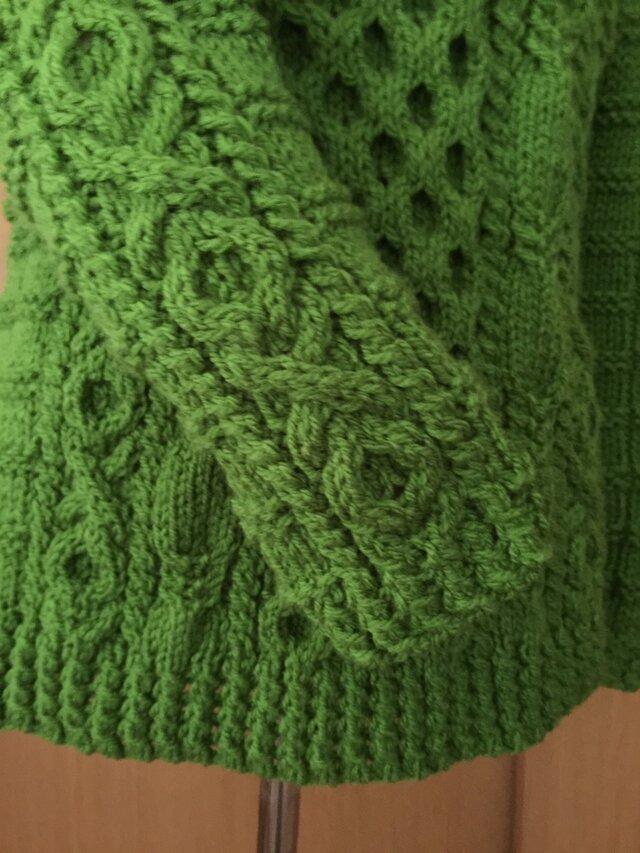 丸バツ模様のアラン模様セーターの画像1枚目