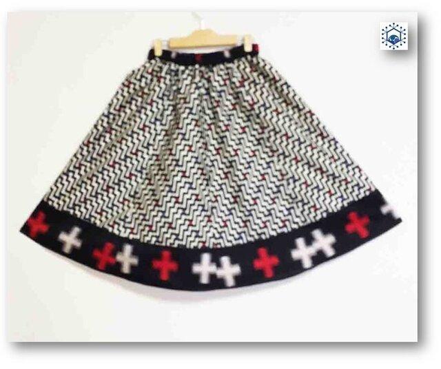 銘仙着物リメイクギャザーフレアスカート70(L)の画像1枚目