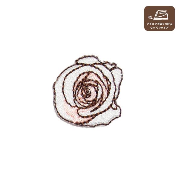 バラのワッペンM(ホワイト&ピンク)の画像1枚目
