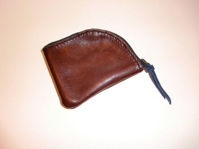 牛皮製カード&小銭入れ ブラウンの画像1枚目