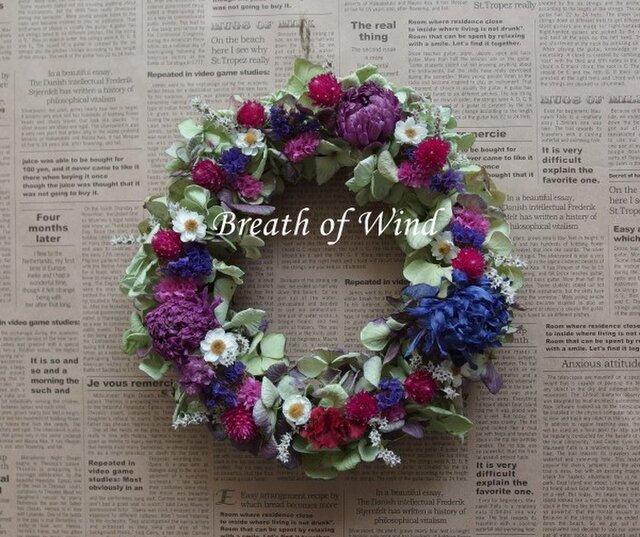 アネモネと紫陽花のリースの画像1枚目