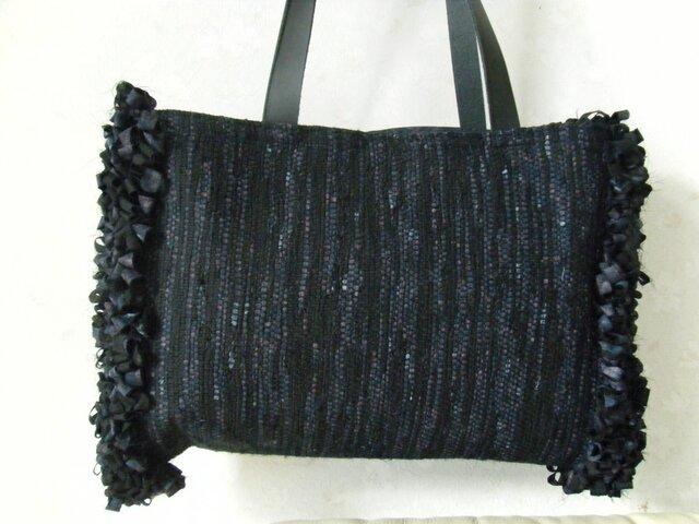 裂き織りバッグ マチなしフリルの画像1枚目