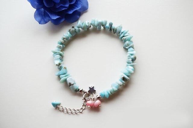 ラリマー ブレスレット Larimar bracelet B0038の画像1枚目