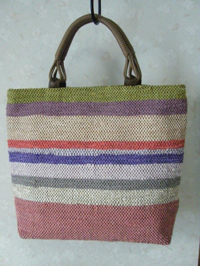 裂き織りバッグ 春色多色シマシマトートの画像1枚目