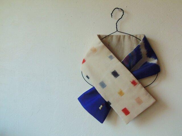 銘仙×リネンの小さな襟巻き「春うらら」プチマフラー ネックウォーマーの画像1枚目