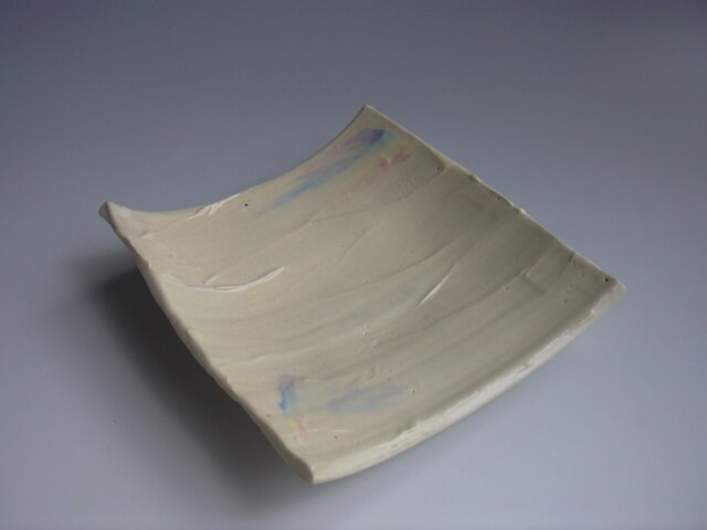 鏝塗レインボー足付板皿(大)の画像1枚目