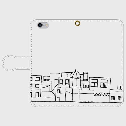 【送料無料】iPhone6/6s手帳型スマホケース まちなみ2の画像1枚目