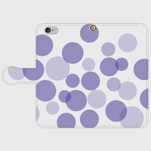 【送料無料】iPhone6/6s手帳型スマホケース 水玉-ラベンダーの画像1枚目