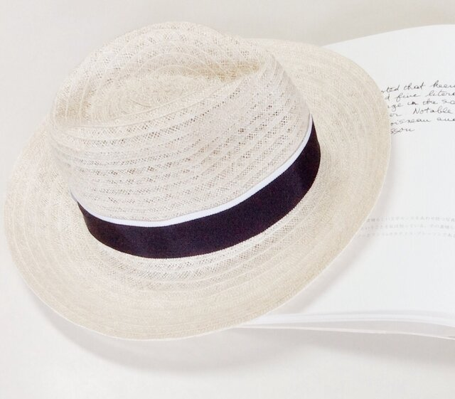 linen hat (navy)の画像1枚目