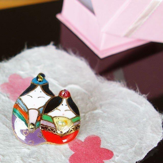 七宝焼ピンブローチ(ピンバッジ,ピンズ) 雛人形(2)の画像1枚目