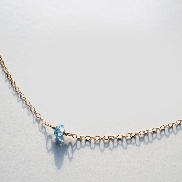 ロンドンブルートパーズ ネックレス London Blue Topaz Necklace(14kgf) N0007の画像1枚目