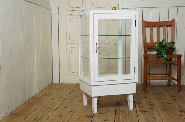 アンティーク調 ガラス棚 白シャビー 飾り棚 ショーケース パンケースの画像1枚目