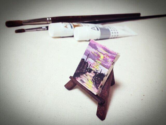 ミニチュア油絵キャンバス イーゼル付「夕景」の画像1枚目