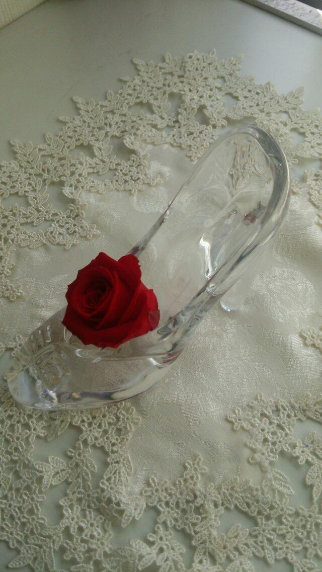 プリザーブドフラワー   ガラスの靴   薔薇  プレゼントの画像1枚目