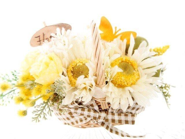 ミモザとお花畑の花かごの画像1枚目