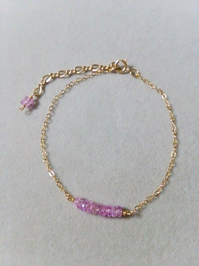 宝石質ピンクサファイアブレスレットの画像1枚目