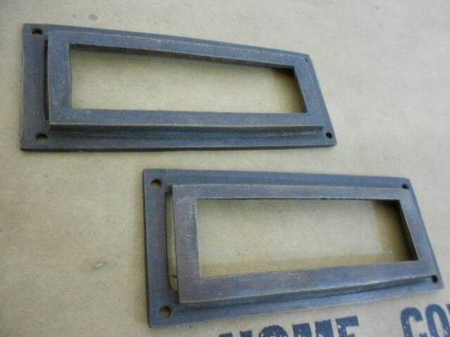 アンティーク調 ブラス 真鍮製 ネームホルダー 引き出し等 2個セットの画像1枚目