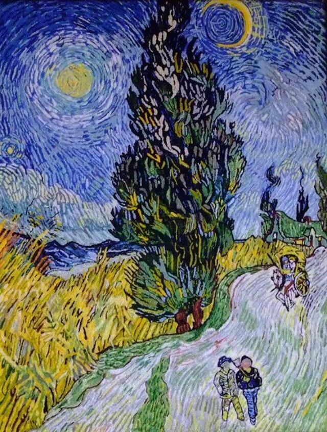 【展示品】刺繍絵画:ゴッホの糸杉と星の見える道の画像1枚目