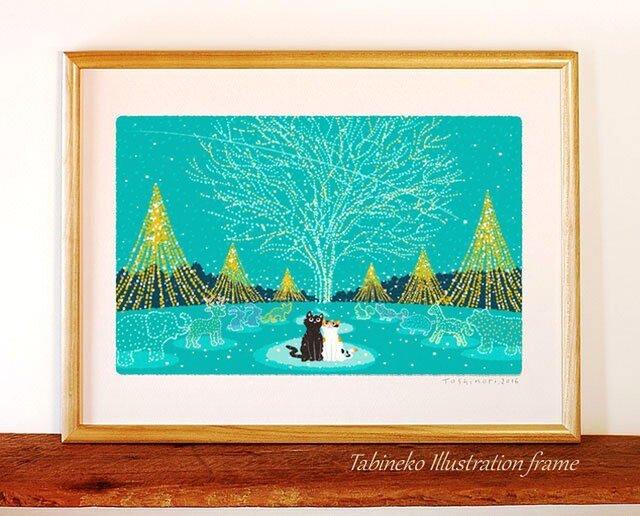 たびねこイラストフレーム-20 クリスマス・イルミネーションの画像1枚目