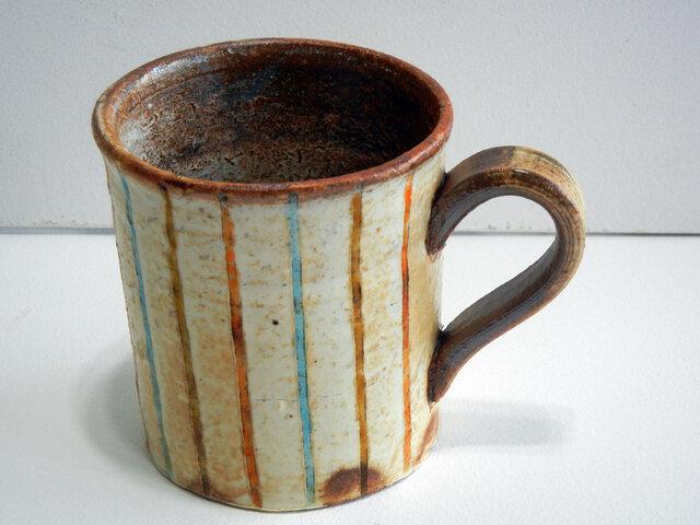 百色(ももいろ)象嵌 マグカップ 麦わら 水色の画像1枚目