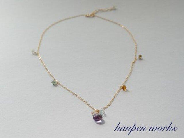 【SALE】 14kgf 宝石質 ピンク(ローズ) アメジスト マルチカラーストーン ネックレスの画像1枚目
