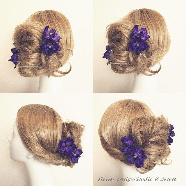 和装に:紫の蘭のUピン(NVPA S:4本セット)の画像1枚目
