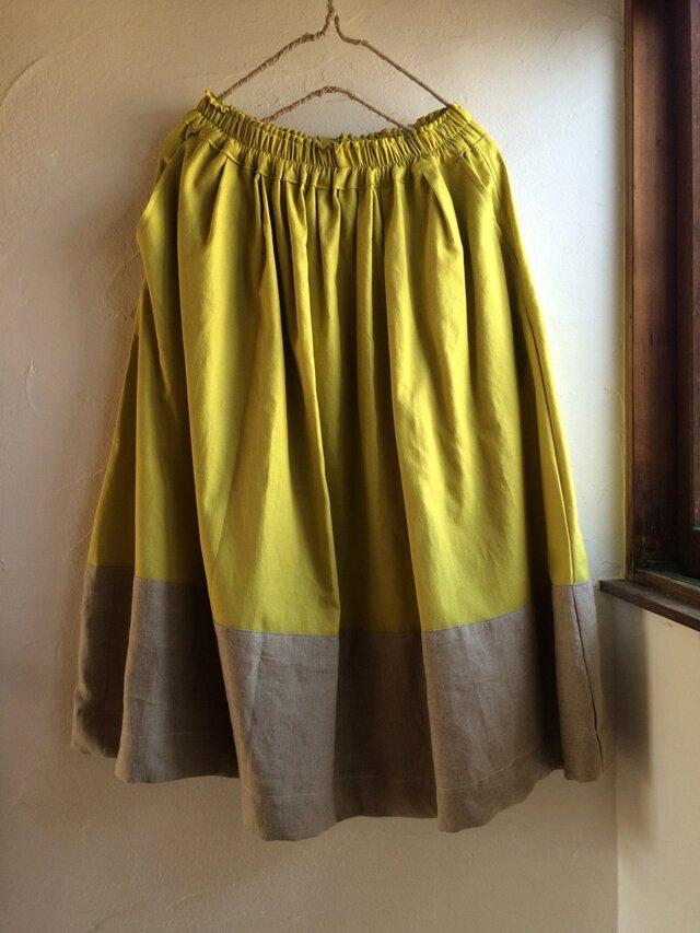 ゆらゆらギャザースカート ミモザイエロー×リネンの画像1枚目