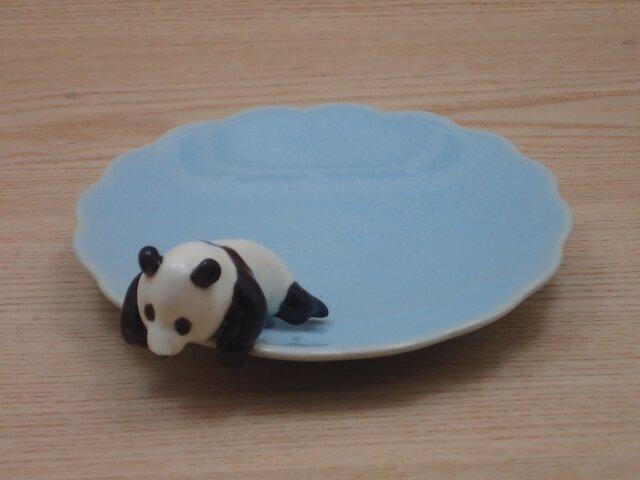 水青爆睡大熊猫輪花小皿−Jの画像1枚目