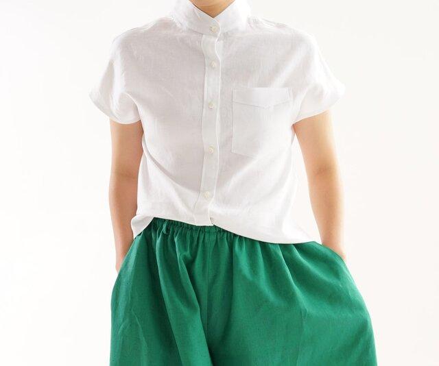 【wafu】薄地 リネン フレンチスリーブ スタンドカラーシャツ トップス / ホワイト t8-26の画像1枚目