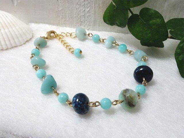 【再販】*bluegreen spring* ~天然石ブレスレットの画像1枚目