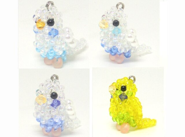セキセイインコ シリーズ☆4 ビーズの小鳥3WAYストラップ(ストラップ・イヤホンジャック・ファスナーチャーム)の画像1枚目