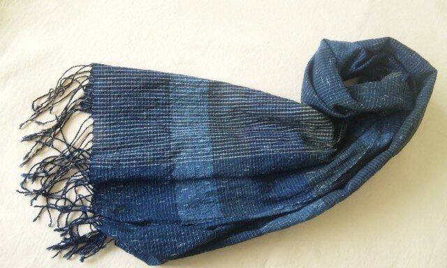 【sale】残り糸をつかった藍の手織りストール の画像1枚目