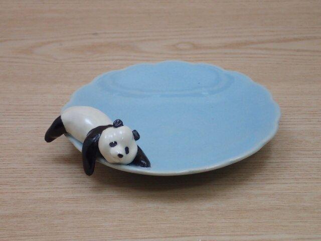 水青爆睡大熊猫輪花小皿−Mの画像1枚目