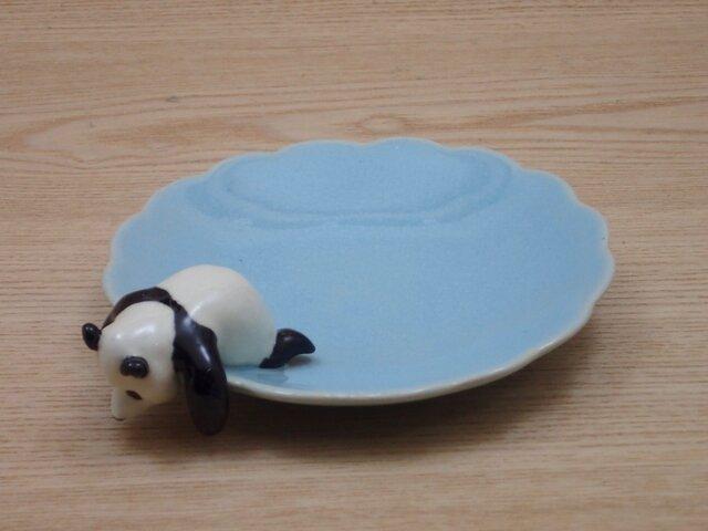 水青爆睡大熊猫輪花小皿−Nの画像1枚目