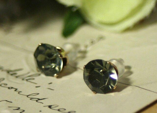 【14kgf】ヴィンテージスワロフスキービジューピアス ブラックダイヤモンドの画像1枚目