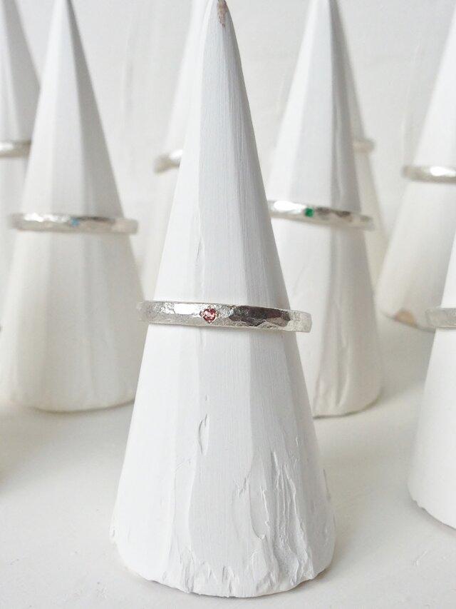 1月誕生石 K18WG Stone texture ringの画像1枚目