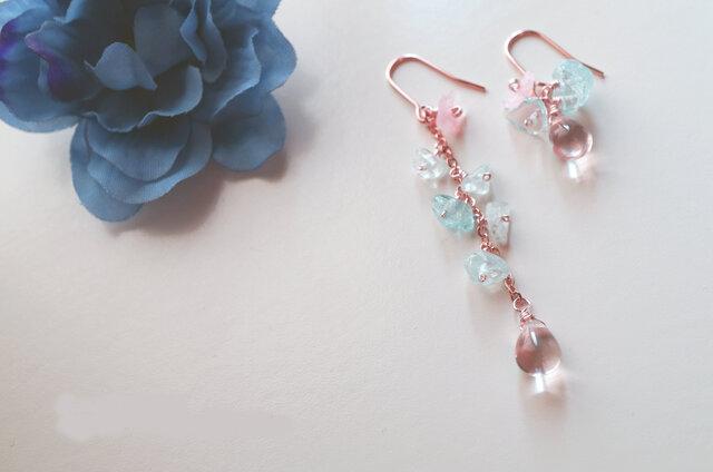 レディー ブルー&ピンク アクアマリン ピアス Lady blue&pink earrings P0032の画像1枚目