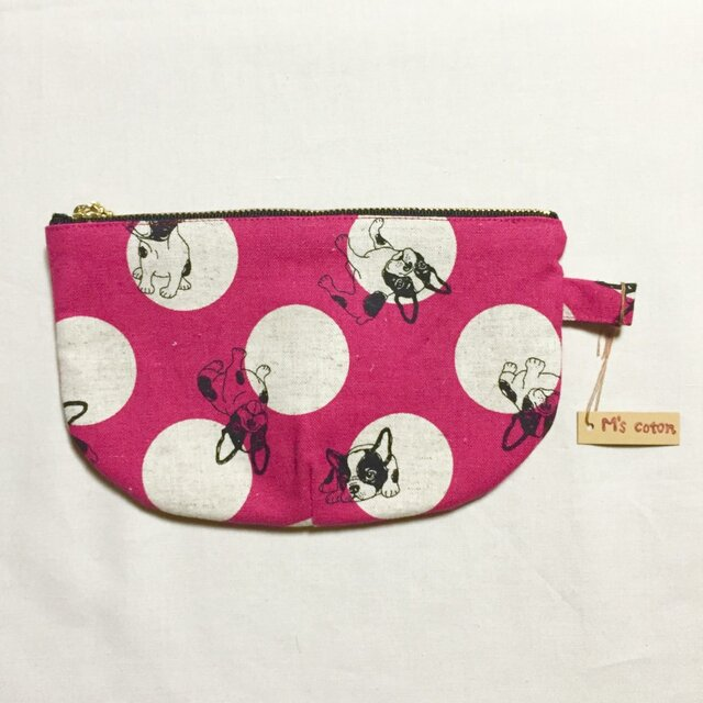 綿[ポーチ]フレンチブル ピンクの画像1枚目