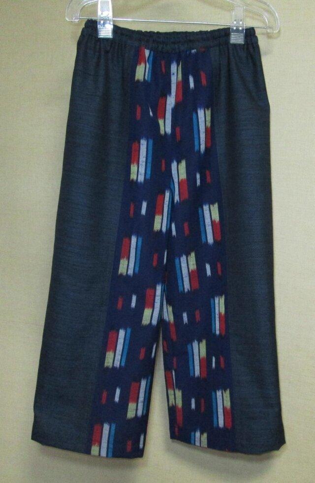 着物リメイク  ポップな絣柄の切り替えウールワイドパンツの画像1枚目