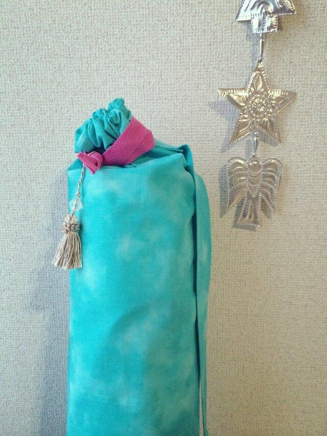 「だあしゃ様 ご予約商品」ダイダイ柄ヨガマットケース ターコイズブルーLLサイズの画像1枚目