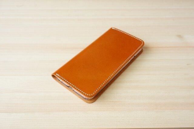 牛革 iPhone6/6sカバー  ヌメ革  レザーケース  手帳型  キャメルカラーの画像1枚目